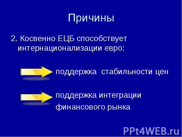 2. Косвенно ЕЦБ способствует интернационализации евро: 2. Косвенно ЕЦБ способствует интернационализации евро: поддержка стабильности цен поддержка интеграции финансового рынка
