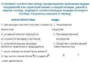 Установите соответствие между организационно-правовыми видами предприятий и их х