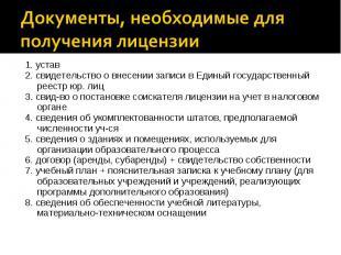 1. устав 1. устав 2. свидетельство о внесении записи в Единый государственный ре