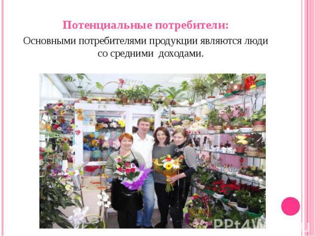 Потенциальные потребители: Потенциальные потребители: Основными потребителями продукции являются люди со средними доходами.