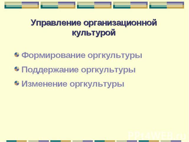 Формирование оргкультуры Формирование оргкультуры Поддержание оргкультуры Изменение оргкультуры