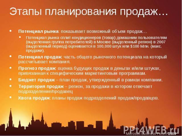 Потенциал рынка: показывает возможный объем продаж… Потенциал рынка: показывает возможный объем продаж… Потенциал рынка сплит-кондиционеров (товар) домашним пользователям (выделенная группа потребителей) в Москве (выделенный регион) в 2007 (выделенн…