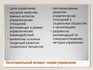 Цели управления: Цели управления: изучение наиболее важных аспектов управленческ