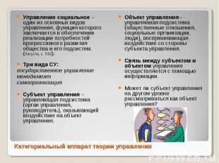 Управление социальное – один из основных видов управления, функция которого закл