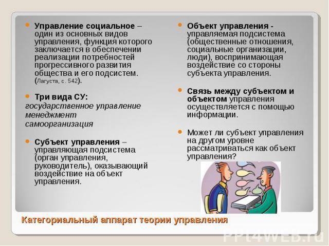 Управление социальное – один из основных видов управления, функция которого заключается в обеспечении реализации потребностей прогрессивного развития общества и его подсистем. (Лагуста, с. 542). Управление социальное – один из основных видов управле…