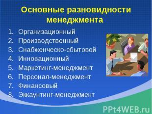 Организационный Организационный Производственный Снабженческо-сбытовой Инновацио