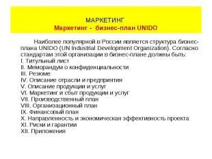 Наиболее популярной в России является структура бизнес- плана UNIDO (UN Industri