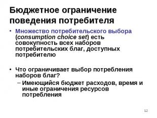 Множество потребительского выбора (consumption choice set) есть совокупность все