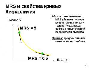 Абсолютное значение MRS убывает по мере возрастания X тогда и только тогда, когд