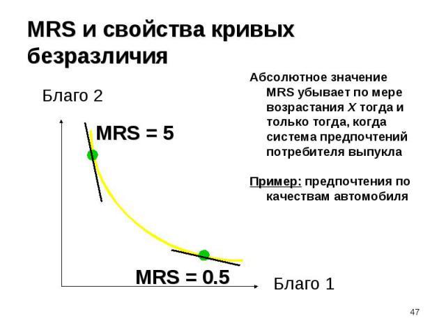 Абсолютное значение MRS убывает по мере возрастания X тогда и только тогда, когда система предпочтений потребителя выпукла Абсолютное значение MRS убывает по мере возрастания X тогда и только тогда, когда система предпочтений потребителя выпукла При…