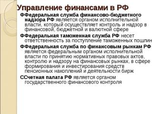 ФФедеральная служба финансово-бюджетного надзора РФ является органом исполнитель