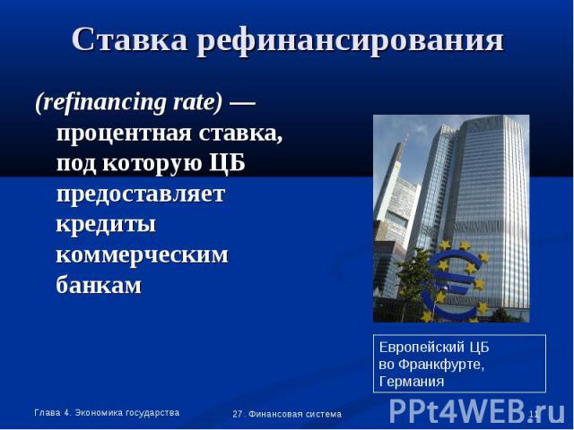 (refinancing rate) —процентная ставка, под которую ЦБ предоставляет кредиты коммерческим банкам (refinancing rate) —процентная ставка, под которую ЦБ предоставляет кредиты коммерческим банкам