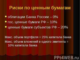 облигации Банка России – 0% облигации Банка России – 0% гос. ценные бумаги РФ –