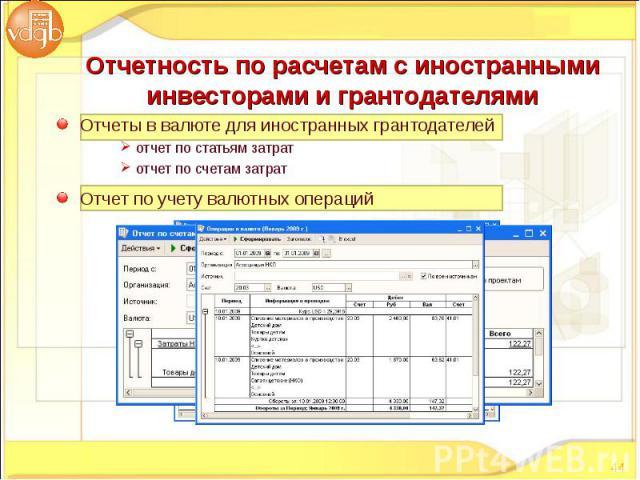 Отчеты в валюте для иностранных грантодателей Отчеты в валюте для иностранных грантодателей отчет по статьям затрат отчет по счетам затрат Отчет по учету валютных операций