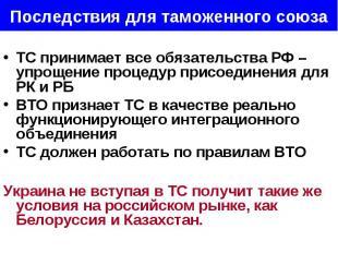 ТС принимает все обязательства РФ – упрощение процедур присоединения для РК и РБ