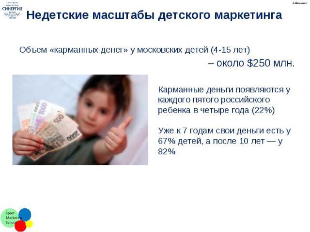 Объем «карманных денег» у московских детей (4-15 лет) Объем «карманных денег» у московских детей (4-15 лет) – около $250 млн.