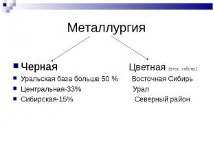 Черная Цветная (в гос. собств.) Уральская база больше 50 % Восточная Сибирь Цент