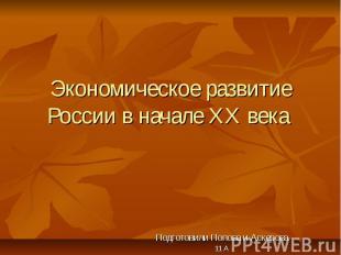 Экономическое развитие России в начале ХХ века Подготовили Попова и Аскерова 11