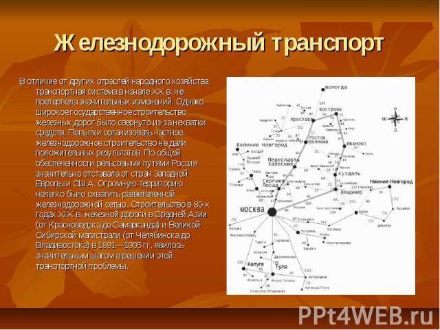 Железнодорожный транспорт В отличие от других отраслей народного хозяйства транспортная система в начале XX в. не претерпела значительных изменений. Однако широкое государственное строительство железных дорог было свернуто из-за нехватки средств. По…