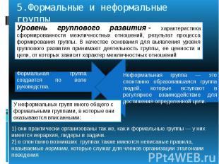 5.Формальные и неформальные группы