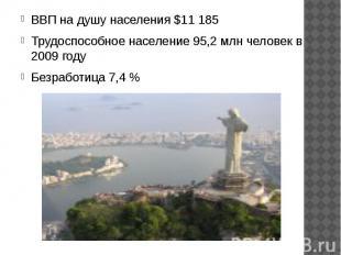 ВВП на душу населения $11 185 ВВП на душу населения $11 185 Трудоспособное насел