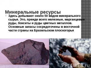 Минеральные ресурсы Здесь добывают около 50 видов минерального сырья. Это, прежд