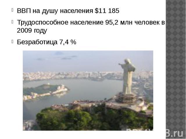ВВП на душу населения $11 185 ВВП на душу населения $11 185 Трудоспособное население 95,2 млн человек в 2009 году Безработица 7,4 %