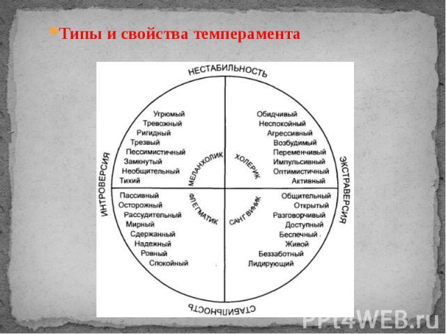 Типы и свойства темперамента Типы и свойства темперамента