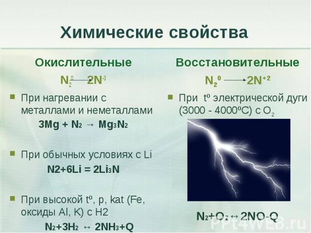 Окислительные Окислительные N20 2N-3 При нагревании с металлами и неметаллами 3Mg + N2 → Mg3N2 При обычных условиях с Li N2+6Li = 2Li3N При высокой tº, р, kat (Fe, оксиды Al, K) с H2 N2+3H2 ↔ 2NH3+Q
