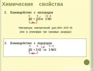Химические свойства 2. Взаимодействие с кислородом N2 + О2 2 NO Температура элек