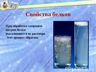 При обработке хлоридом натрия белки высаливаются из раствора. Этот процесс обрат