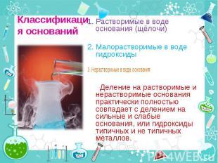 1. Растворимые в воде основания (щёлочи) 1. Растворимые в воде основания (щёлочи