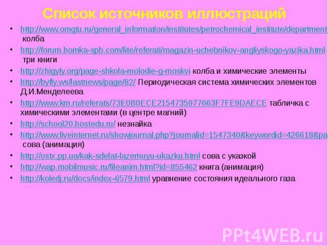 Список источников иллюстраций http://www.omgtu.ru/general_information/institutes/petrochemical_institute/department_of_quot_physical_chemistry_quot/the_teaching_process_1.php колба http://forum.homka-spb.com/lite/referati/magazin-uchebnikov-angliysk…