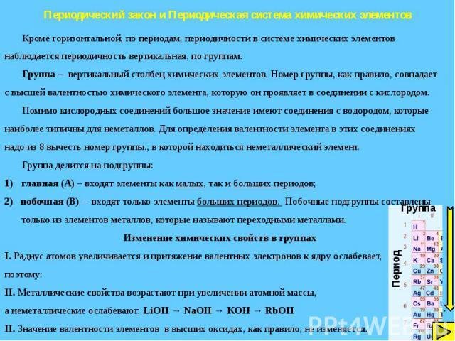 Периодический закон и Периодическая система химических элементов
