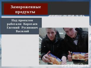Замороженные продукты Над проектом работали: Коротаев Евгений Русинович Василий