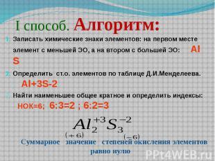 І способ. Алгоритм: Записать химические знаки элементов: на первом месте элемент