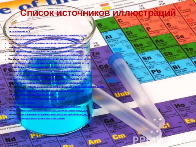 Список источников иллюстраций Фон слайдов http://shkolazhizni.ru http://school-collection.edu.ru Сера http://files.school-collection.edu.ru/dlrstore/bed068ac-8cff-11db-b606-0800200c9a66/ch09_22_08.jpg Железо http://files.school-collection.edu.ru/dlr…