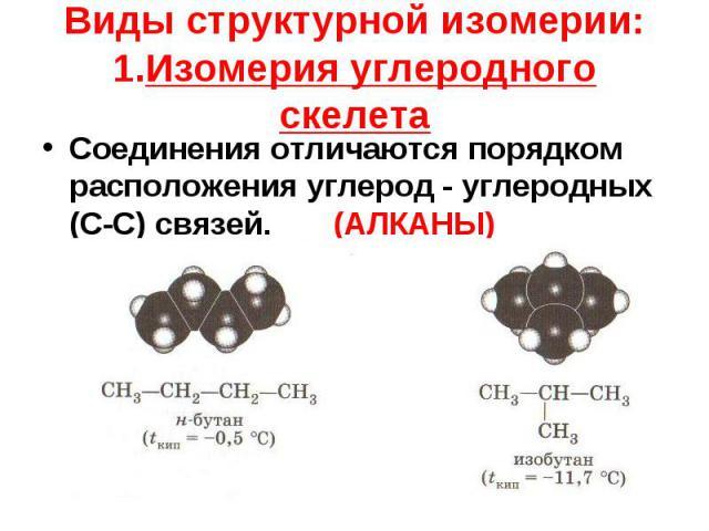Соединения отличаются порядком расположения углерод - углеродных (С-С) связей. (АЛКАНЫ) Соединения отличаются порядком расположения углерод - углеродных (С-С) связей. (АЛКАНЫ)