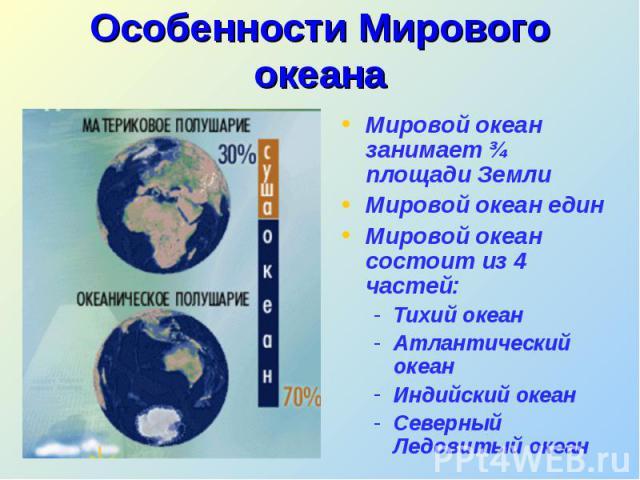 Мировой океан занимает ¾ площади Земли Мировой океан занимает ¾ площади Земли Мировой океан един Мировой океан состоит из 4 частей: Тихий океан Атлантический океан Индийский океан Северный Ледовитый океан