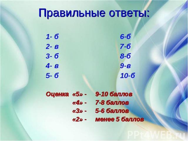 1- б 6-б 2- в 7-б 3- б 8-б 4- в 9-в 5- б 10-б Оценка «5» - 9-10 баллов «4» - 7-8 баллов «3» - 5-6 баллов «2» - менее 5 баллов