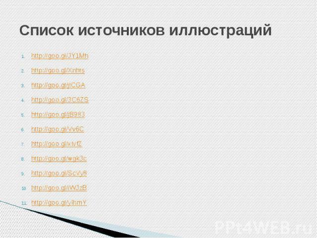 Список источников иллюстраций http://goo.gl/JY1Mh http://goo.gl/Xnhts http://goo.gl/jlCGA http://goo.gl/3C6ZS http://goo.gl/jB983 http://goo.gl/Vv6C http://goo.gl/xIvfZ http://goo.gl/wgk3c http://goo.gl/ScVy8 http://goo.gl/iWJzB http://goo.gl/yIhmY