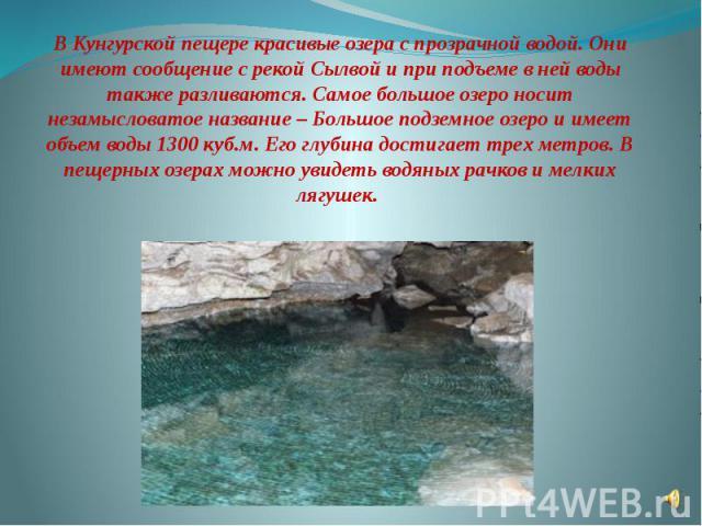В Кунгурской пещере красивые озера с прозрачной водой. Они имеют сообщение с рекой Сылвой и при подъеме в ней воды также разливаются. Самое большое озеро носит незамысловатое название – Большое подземное озеро и имеет объем воды 1300 куб.м. Его глуб…