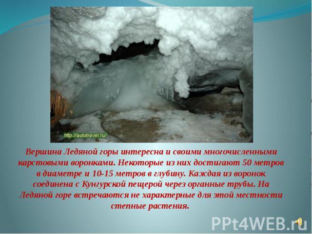 Вершина Ледяной горы интересна и своими многочисленными карстовыми воронками. Некоторые из них достигают 50 метров в диаметре и 10-15 метров в глубину. Каждая из воронок соединена с Кунгурской пещерой через органные трубы. На Ледяной горе встречаютс…