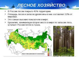 ЛЕСНОЕ ХОЗЯЙСТВО В России лесом покрыто 45% территории. Площадь лесов и запасов