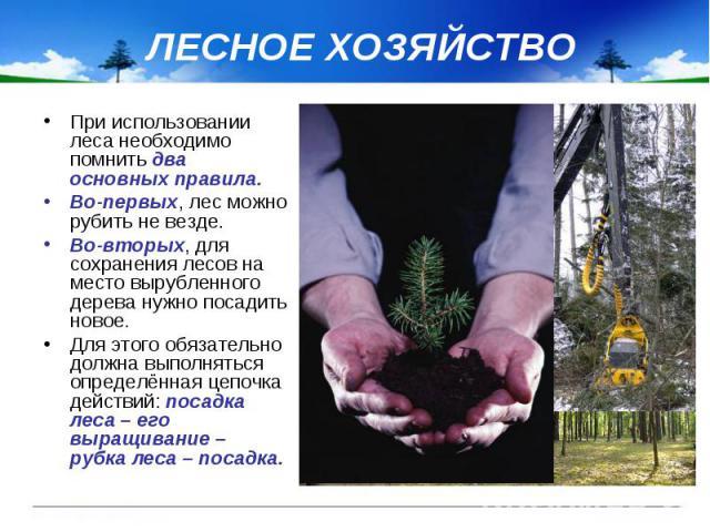 ЛЕСНОЕ ХОЗЯЙСТВО При использовании леса необходимо помнить два основных правила. Во-первых, лес можно рубить не везде. Во-вторых, для сохранения лесов на место вырубленного дерева нужно посадить новое. Для этого обязательно должна выполняться опреде…