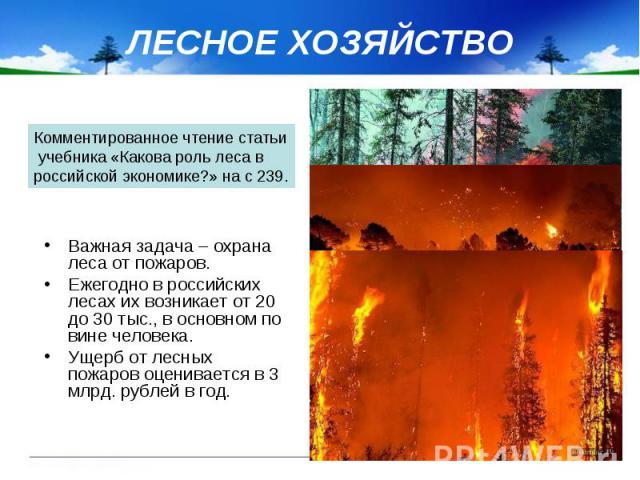 ЛЕСНОЕ ХОЗЯЙСТВО Важная задача – охрана леса от пожаров. Ежегодно в российских лесах их возникает от 20 до 30 тыс., в основном по вине человека. Ущерб от лесных пожаров оценивается в 3 млрд. рублей в год.