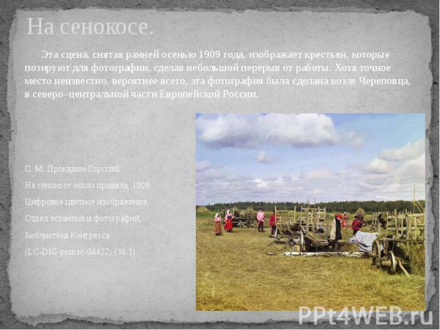 На сенокосе. Эта сцена, снятая ранней осенью 1909 года, изображает крестьян, которые позируют для фотографии, сделав небольшой перерыв от работы. Хотя точное место неизвестно, вероятнее всего, эта фотография была сделана возле Череповца, в северо–це…