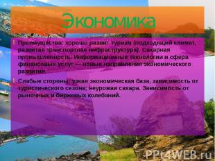 Экономика Преимущества: хорошо развит туризм (подходящий климат, развитая трансп