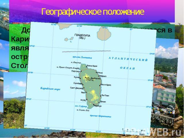 Географическое положение Доминика – государство, находящееся в Карибском море. Остров Доминика является частью Малых Антильских островов. Занимает территорию в 755 км2. Столица – город Розо.