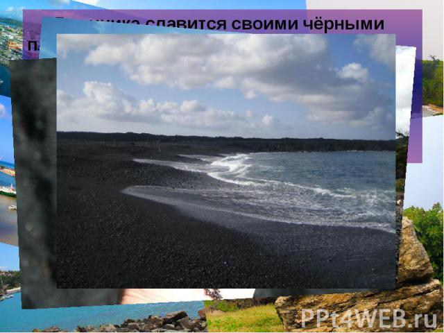 Доминика славится своими чёрными пляжами (чёрный песок). Составляющие такого чёрного песка – тёмноцветные тяжёлые минералы, образующиеся в результате вымывания более лёгких и светлых минералов. Доминика славится своими чёрными пляжами (чёрный песок)…